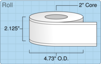 """Roll of 2"""" x 179' Continuous Feed  Inkjet  labels"""