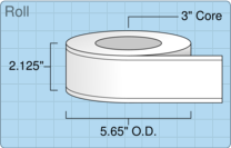 """Roll of 2"""" x 220' Continuous Feed  Inkjet  labels"""