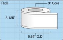"""Roll of 3"""" x 220' Continuous Feed  Inkjet  labels"""