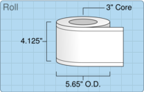 """Roll of 4"""" x 220' Continuous Feed  Inkjet  labels"""