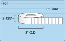 """Roll of 2"""" x 1""""  Thermal  labels"""
