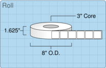 """Roll of 1.5"""" x 1.5""""  Thermal  labels"""