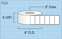 """Roll of 3"""" x 1.5""""  Thermal  labels"""