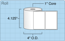 """Roll of 4"""" x 2.5""""  Thermal  labels"""
