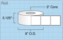 """Roll of 3"""" x 3""""  Thermal  labels"""