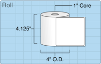 """Roll of 4"""" x 4""""  Thermal  labels"""
