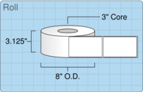 """Roll of 3"""" x 5""""  Thermal  labels"""