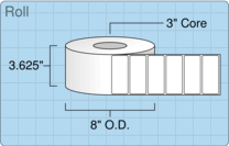 """Roll of 3.5"""" x 1.5""""  Thermal  labels"""