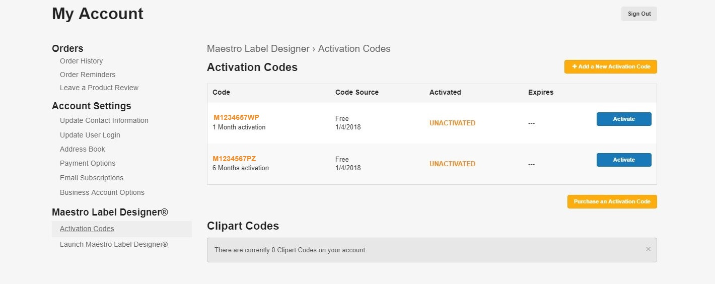 Account Activation Codes